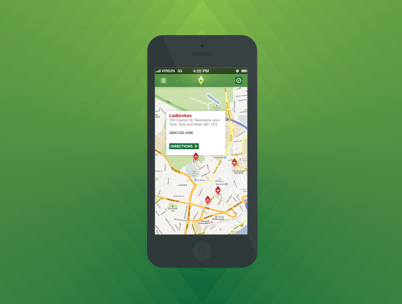 Map, location based search on our Betting Shop Finder app on iOS and Android