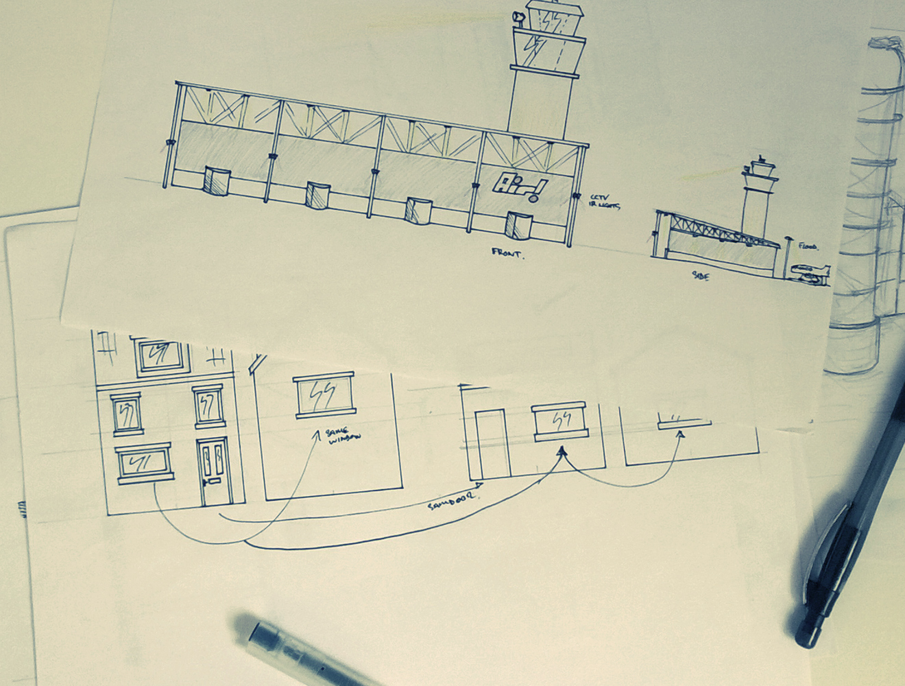 Sketches of airport and residential area for Raytec interactive installation