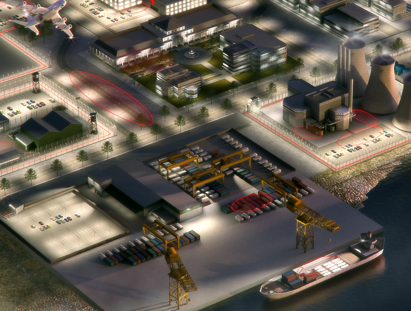 Interactive city for Raytech render of dock and power station