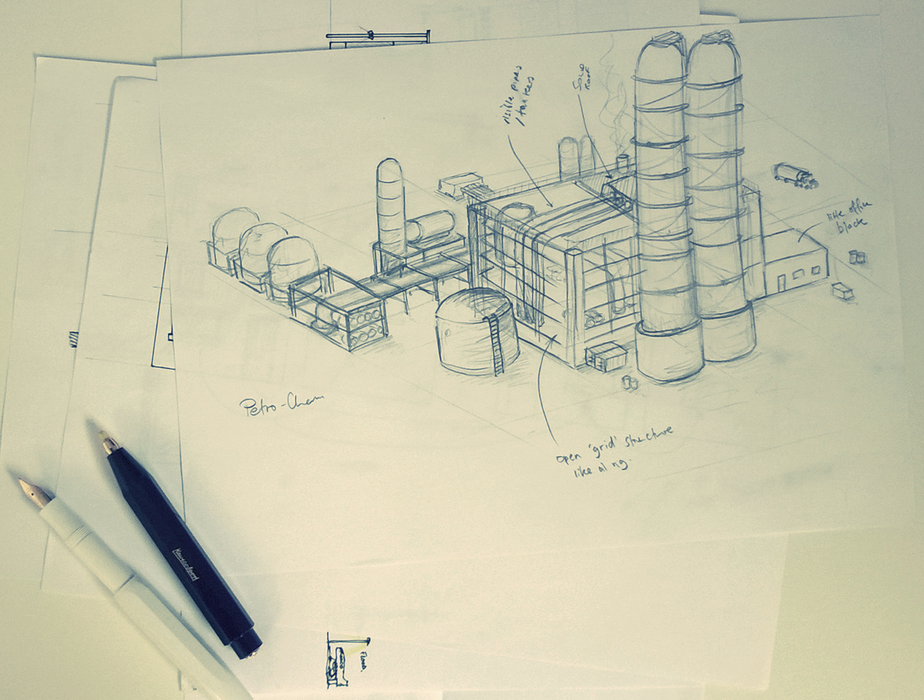 Oil Refinery Sketch for Raytech
