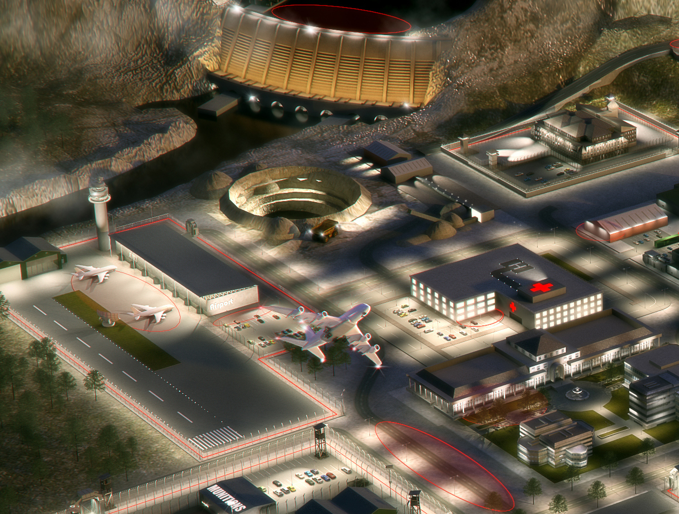 Interactive city for Raytech  render of airport and hospital