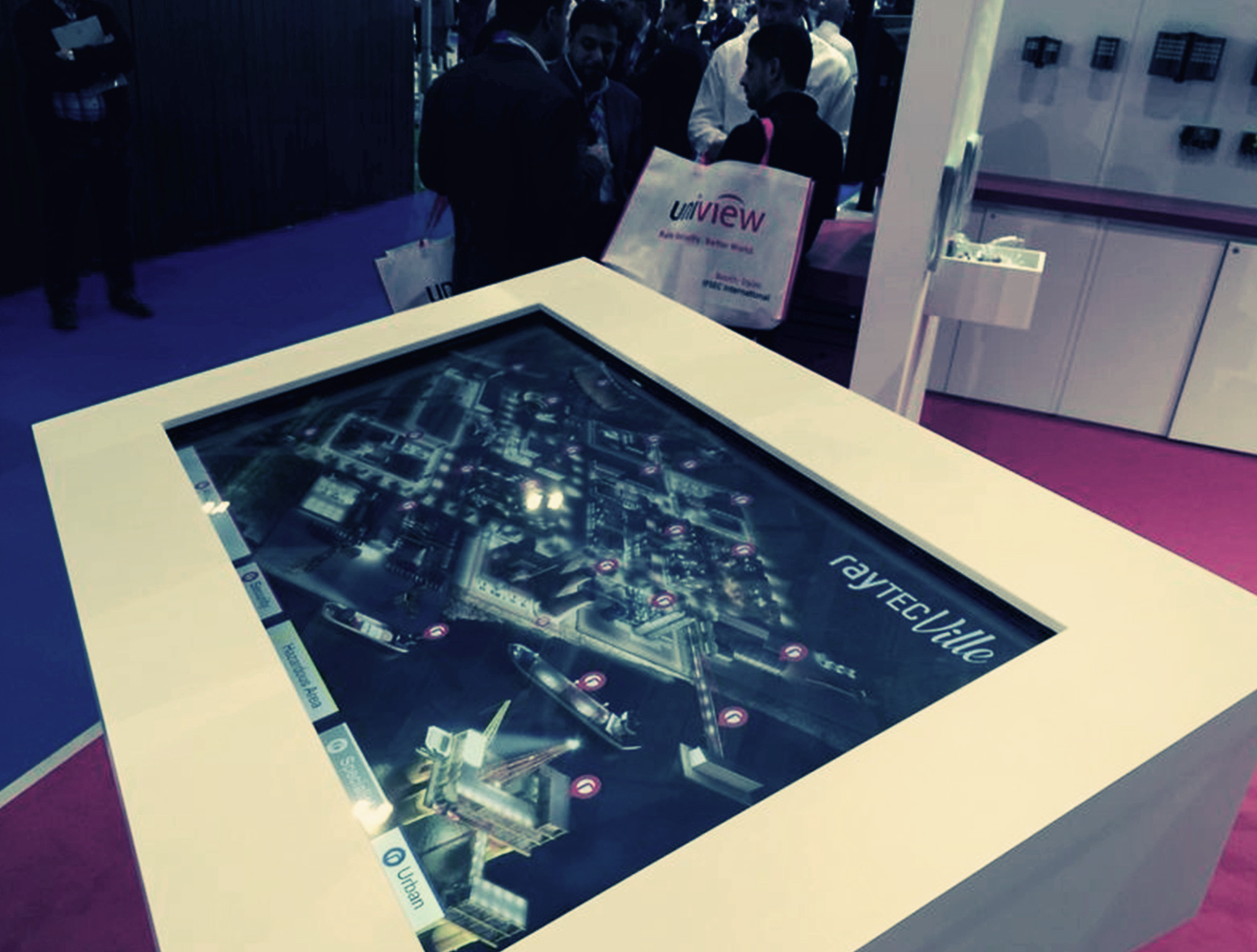 A photo of our interactive city for Raytech installed at IFSEC Exhibition